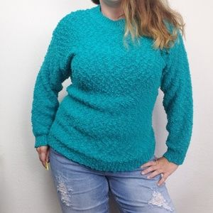 Vintage Teal Textured Oversized Knit Sweater